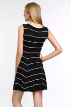 Load image into Gallery viewer, Striped-A-Line-Dress-Black-Back