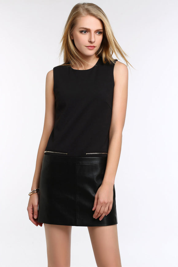SLEEVELESS-DRESS-WITH-FAUX-LEATHER-PANEL-BLACK