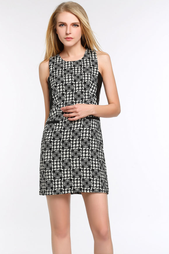 MIXED-MEDIA-PRINT-SHEATH-DRESS-WITH-FAUX-LEATHER-TRIM