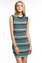 Load image into Gallery viewer, CHEVRON-STRIPED-KNIT-BODYCON-DRESS-BLUE-MAIN