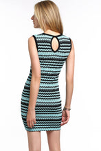 Load image into Gallery viewer, CHEVRON-STRIPED-KNIT-BODYCON-DRESS-BLUE-BACK