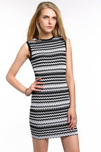 Load image into Gallery viewer, CHEVRON-STRIPED-KNIT-BODYCON-DRESS-WHITE