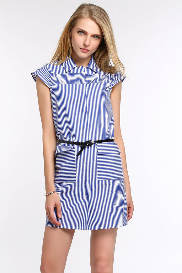 STRIPED-CAP-SLEEVE-SHIRT-DRESS-ROYAL-BLUE-MAIN
