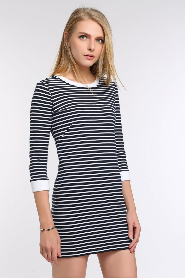 FITTED-STRIPED-THREE-QUARTER-SLEEVE-DRESS-MAIN