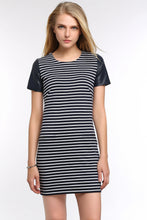 Load image into Gallery viewer, LEATHER-CAP-SLEEVE-TEE-STRIPED-DRESS-FOCUS