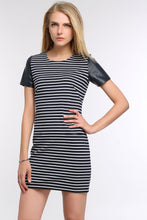 Load image into Gallery viewer, LEATHER-CAP-SLEEVE-TEE-STRIPED-DRESS-MAIN