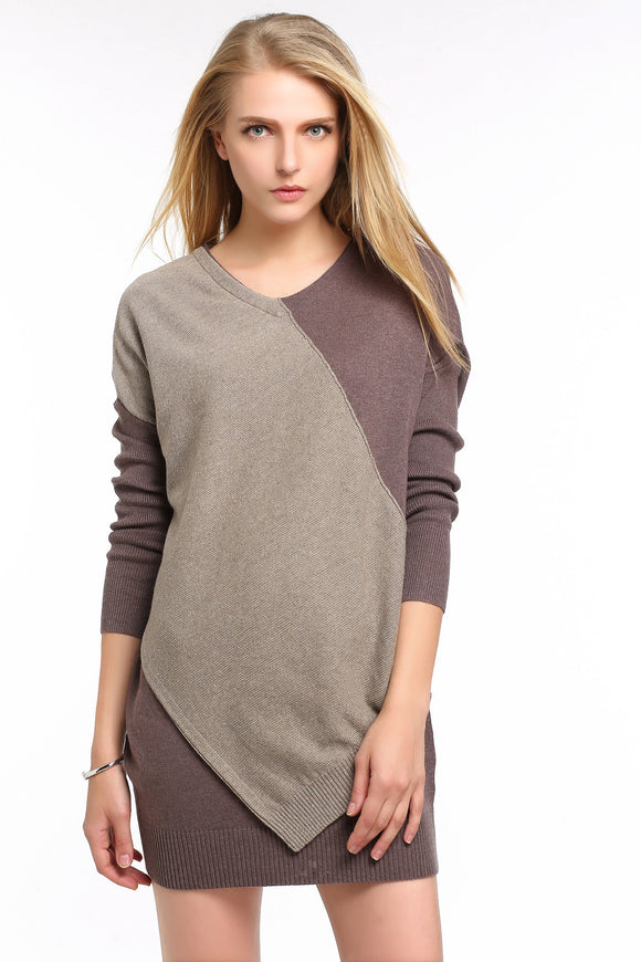 Asymmetrical-Sweater-Dress-Brown