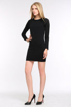 Load image into Gallery viewer, KNIT-BLACK-DRESS-WITH-SHEER-SLEEVE-PANEL-FULL