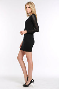 KNIT-BLACK-DRESS-WITH-SHEER-SLEEVE-PANEL-SIDE