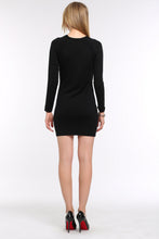 Load image into Gallery viewer, KNIT-BLACK-DRESS-WITH-SHEER-SLEEVE-PANEL-BACK