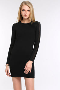 KNIT-BLACK-DRESS-WITH-SHEER-SLEEVE-PANEL