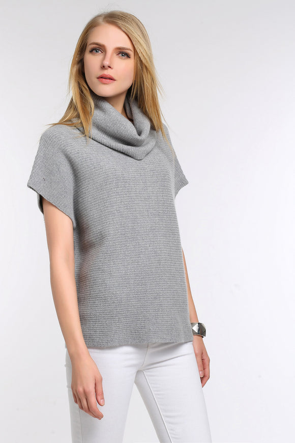 DRAPED-COWL-SHORT-SLEEVE-KNIT-SWEATER-GREY
