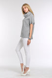 DRAPED-COWL-SHORT-SLEEVE-KNIT-SWEATER-GREY-SIDE