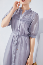 Load image into Gallery viewer, Klara-Linen-Shirt-Dress-Lilac-Details