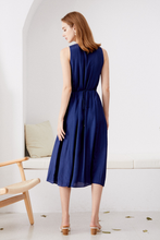 Load image into Gallery viewer, Marisa-Sleeveless-Navy-Dress-Back