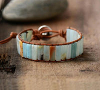 Amazonite Leather Bracelet