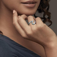 Blue Opal Gemstone Wave Ring