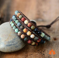 Jasper Three Strands Leather Bracelet