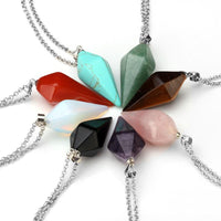 Natural Gem Crystal Charm  Necklace