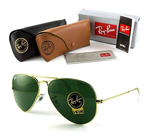 Ray-Ban RB3025 Classic Aviator Sunglasses Gold/Crystal Green 58mm - KartCraver
