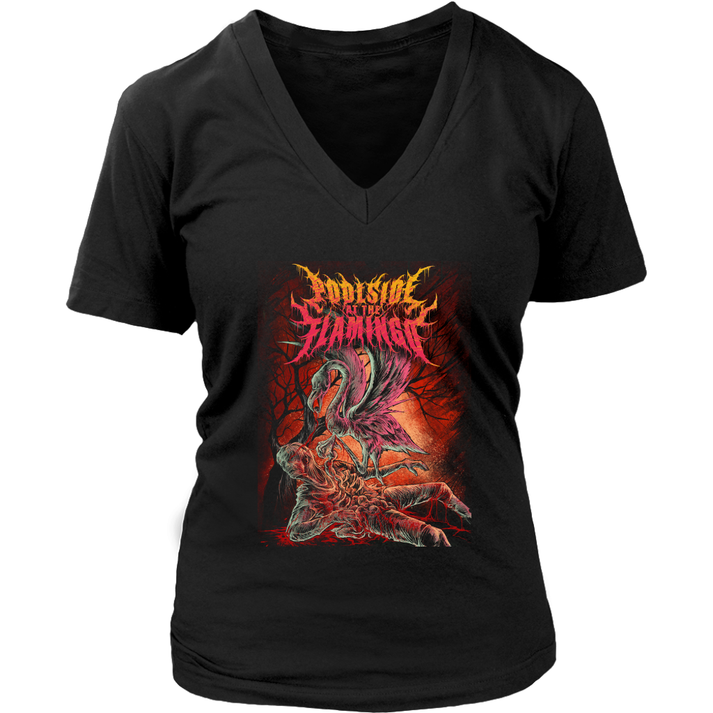 Flamingo District Womens V-Neck