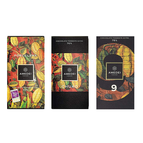 Amedei Dark Chocolate Bar Bundle- Includes Porcelana, Chuao and Signature 9 (3-pack)