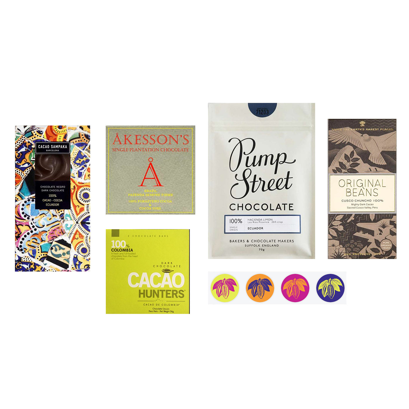 100% Cacao Dark Chocolate Bar Bundle (variety #2)
