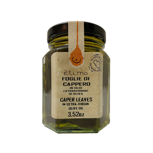 Etimo Pantelleria Caper Leaves in Extra Virgin Olive Oil 3.52 Ounces