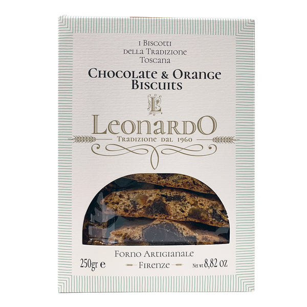 Leonardo Forno Cantucci Biscotti with Dark Chocolate and Sicilian Candied Orange from Italy 250 Grams