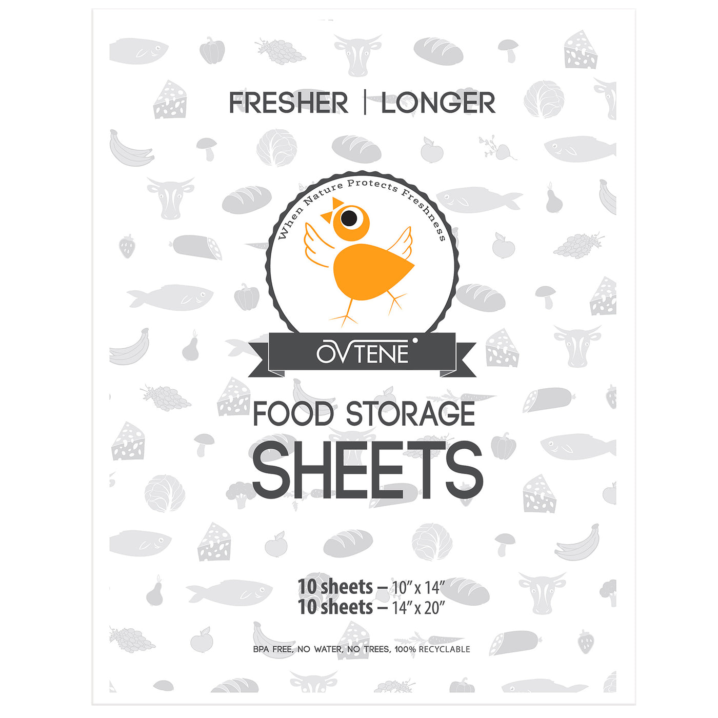 OVTENE Food Storage Sheets for Cheese, Meat, and Produce - Keeps Food Fresher (20 Sheets) Longer