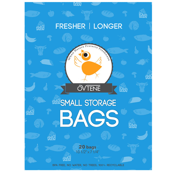 "OVTENE Food Storage Bags for Cheese, Meat, and Produce - Keeps Food Fresher Longer (20 Small bags 10.5""x7.25"")"