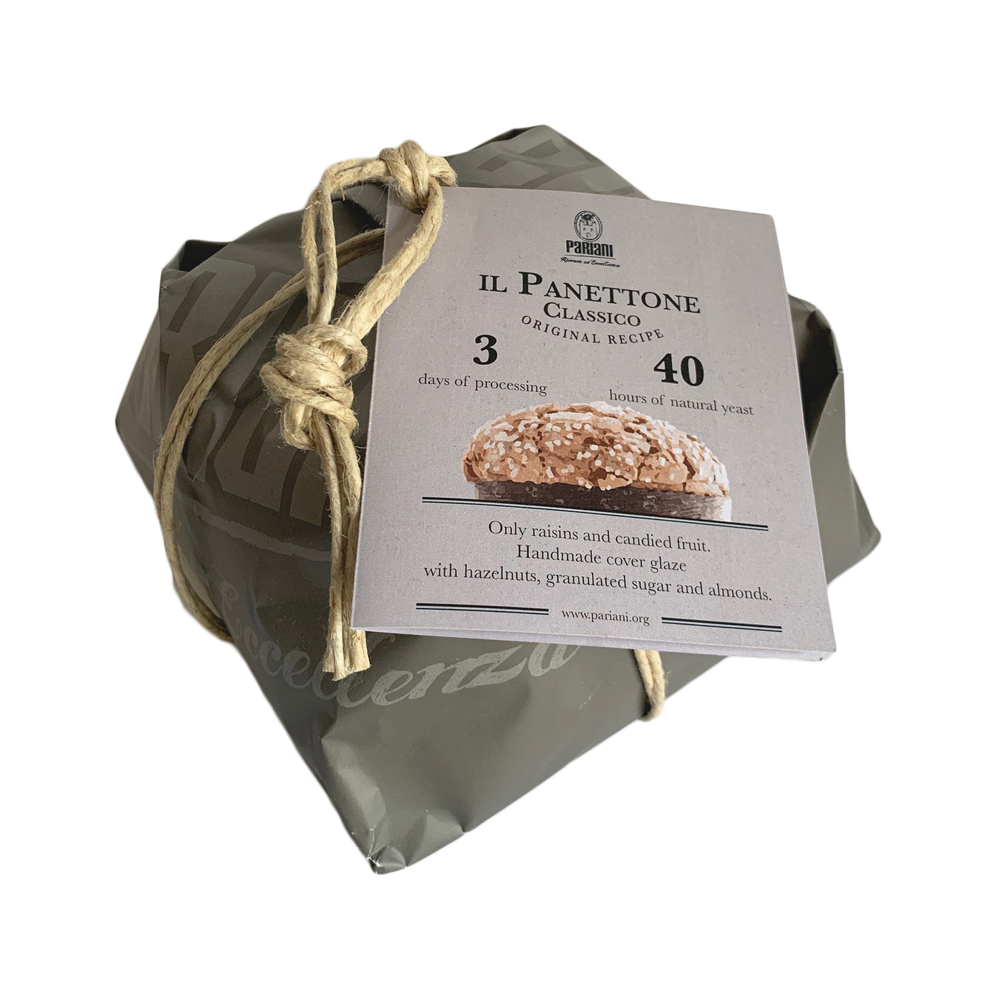 Pariani Classic Panettone with PGI Hazelnut Frosting, Pearl Sugar and Whole Almonds 750 Grams