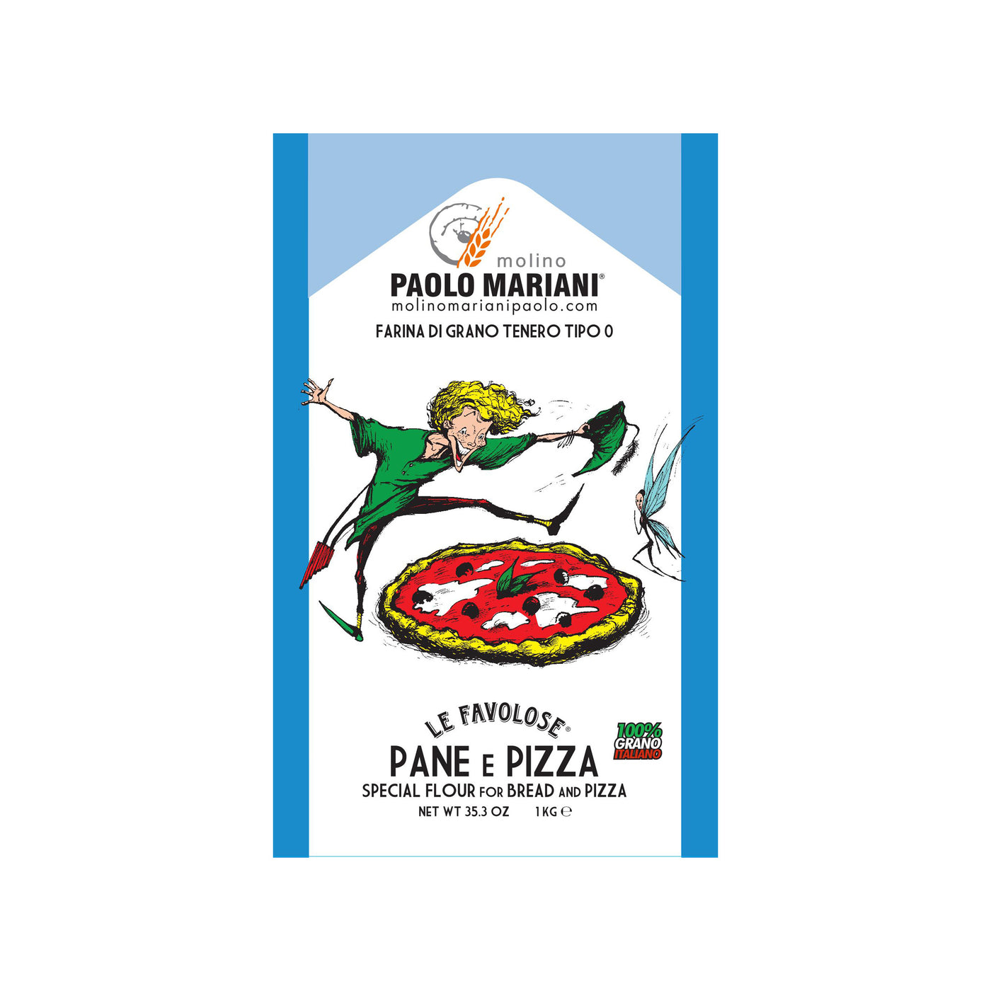 Paolo Mariani Italian Soft Wheat Type 0 Flour for Pizza and Bread 2.2 Lbs