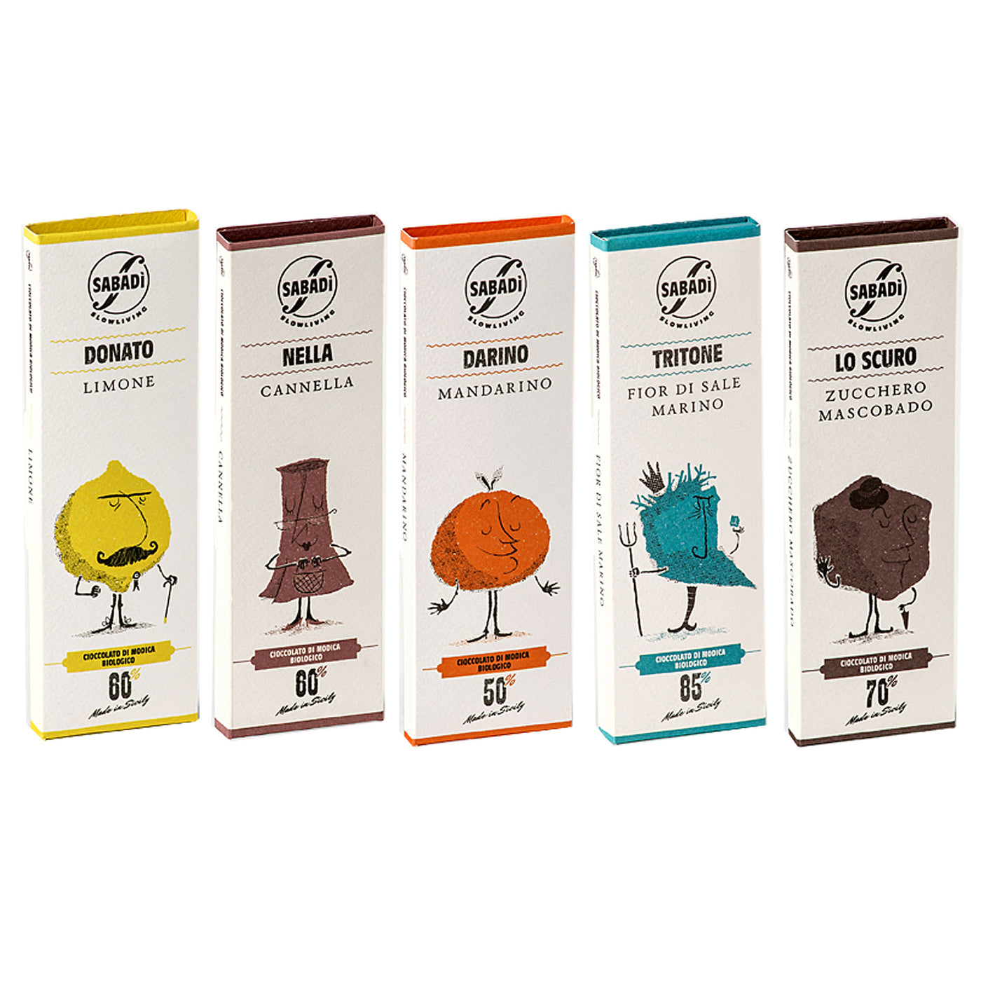 Sabadi Organic Modica Chocolate from Sicily (Variety Pack of 5)