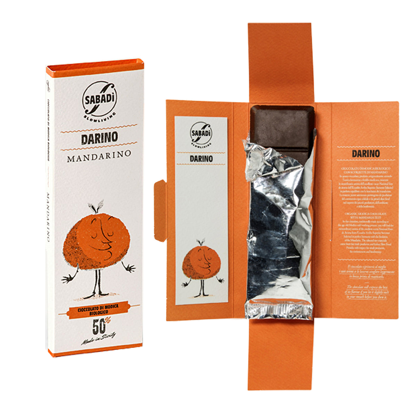 Sabadi Organic Modica Chocolate with Mandarin 1.76 oz
