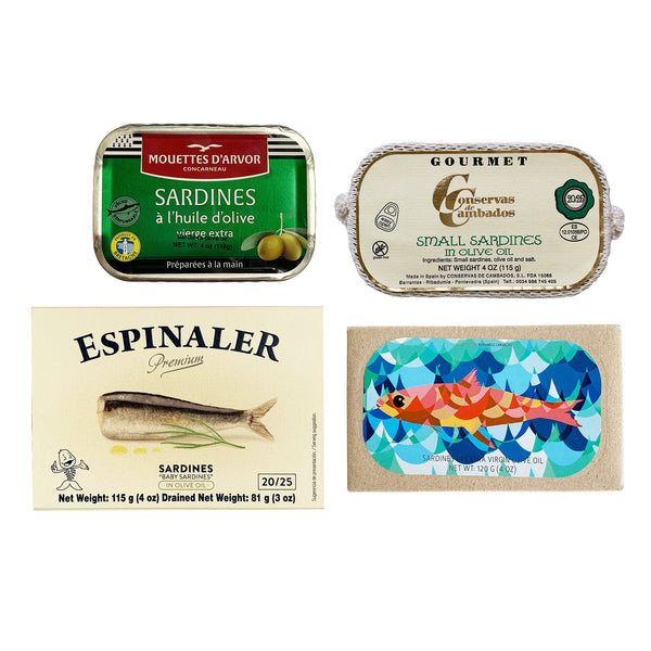 Premium Sardines Variety Pack - Includes Sardines from Les Mouettes D'arvor, Conservas de Cambados, Jose Gourmet, and Espinaler (4 items)