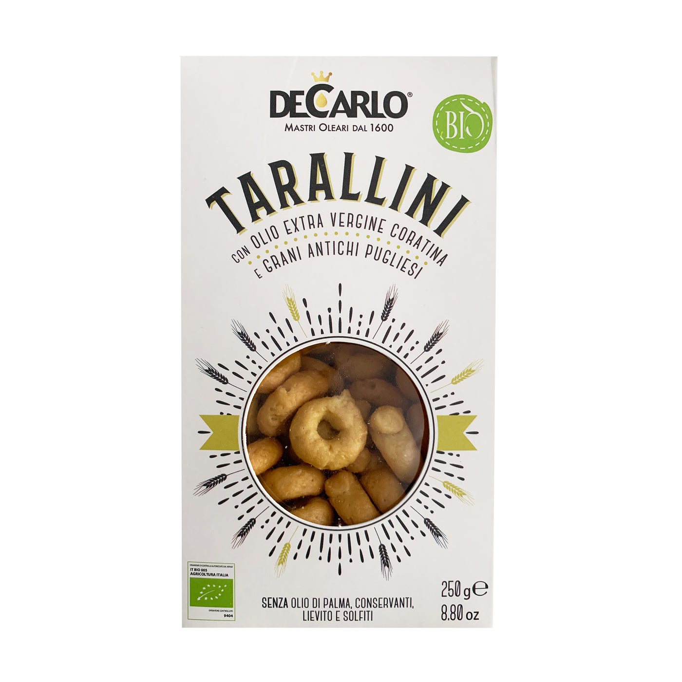 DeCarlo USDA Organic Tarallini with Ancient Pugliesi Grains and Extra Virgin Olive Oil - 250g