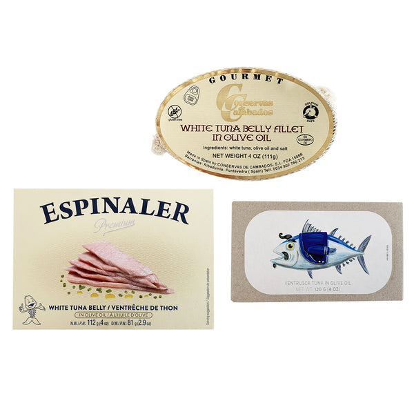 Ventresca Tuna Belly Variety Pack - Conservas de Cambados, Espinaler and Jose Gourmet (3 items)