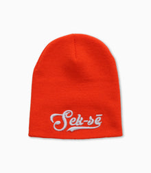 Blaze Orange Retro Swoosh 3D Puff Logo Short Beanie