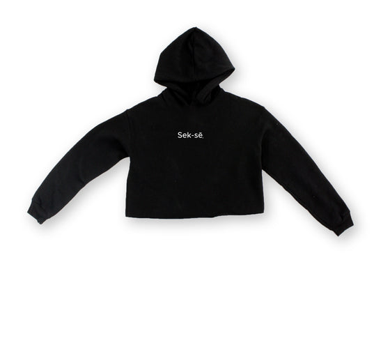 Simple Sek-sē Logo Embroidered Cropped Hoodie