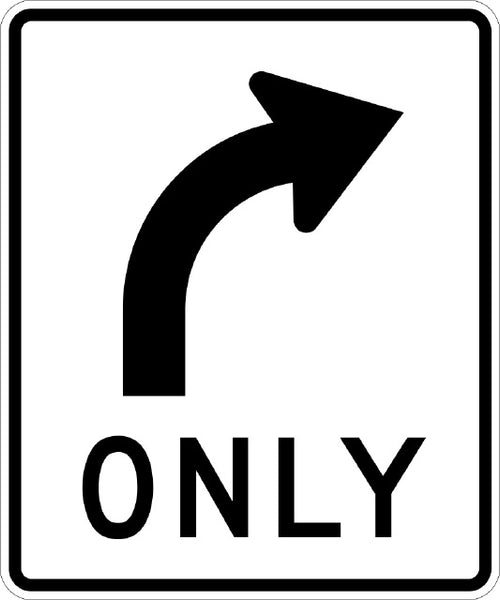 R3-5R, MUTCD Right Turn Only Sign