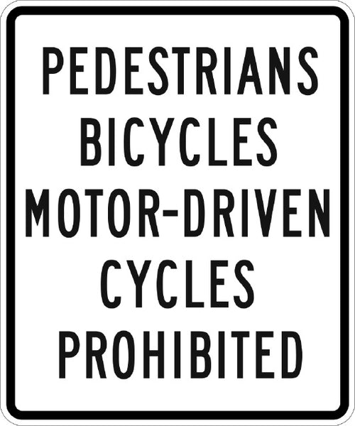 R5-10A, MUTCD PEDESTRIANS BICYCLES MOTOR DRIVEN CYCLES PROHIBITED