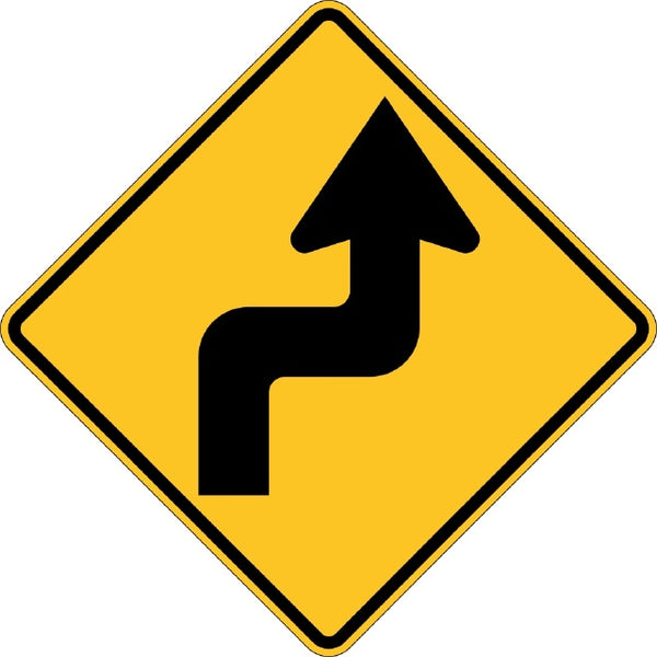 W1-3R, MUTCD Reverse Turn Right Symbolic