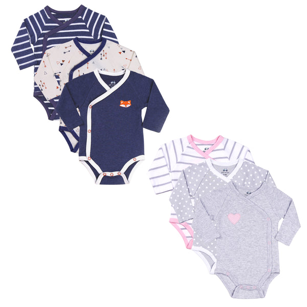Boy-Girl Twin 6-Piece Kimono Bodysuit Set