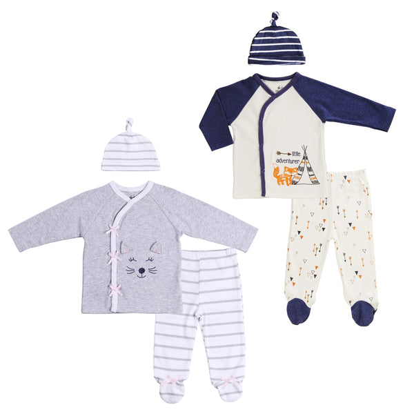 Boy-Girl Twin 6-Piece Footed Kimono Style Set
