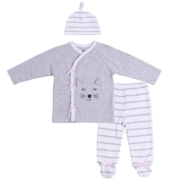 Baby Outfit with Kimono Style Top, Knotted Hat and Striped Footies