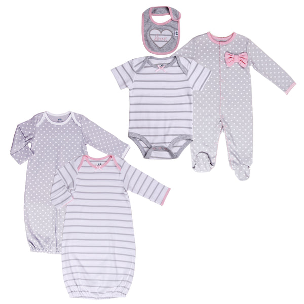 Twin Baby Girl 5-Piece Sleepwear and Outfit Set