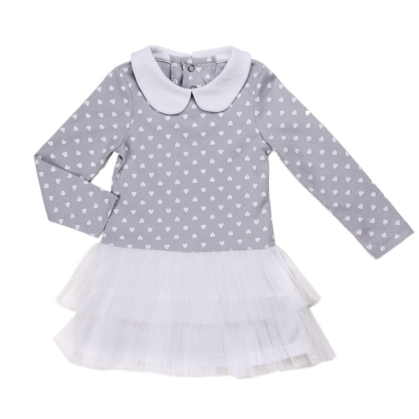 Baby Girl Tutu Dress with Polka Hearts and Peter Pan Collar