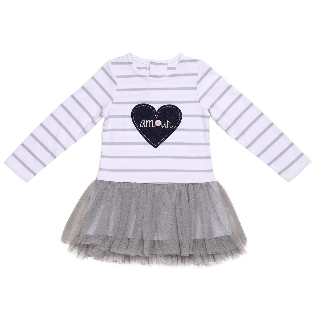 Baby Girl Cotton Tutu Dress with Grey Mesh and Heart Patch