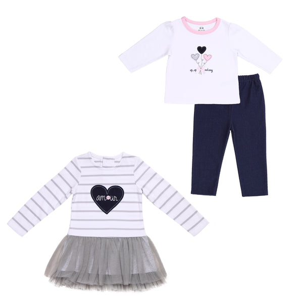 Baby Twin Girl 3-Piece Hearts Outfit Set